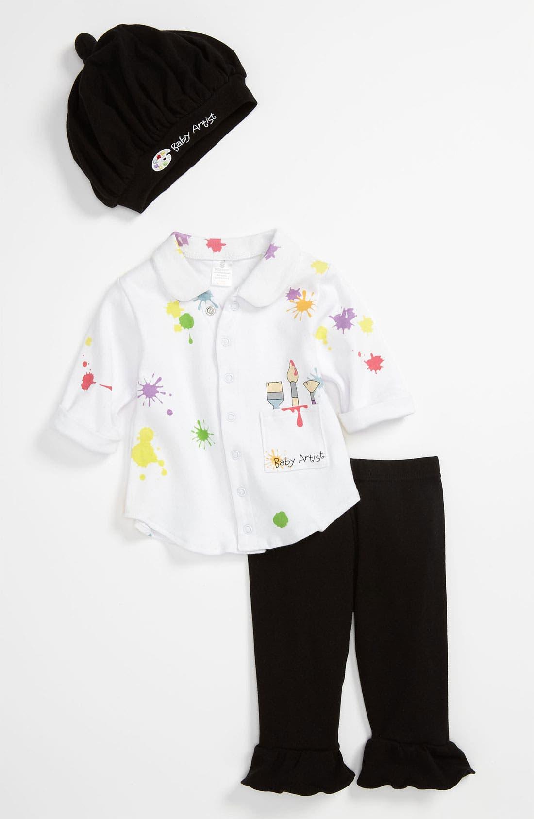 Main Image - Baby Aspen 'Baby Artist' Shirt, Pants & Hat (Baby)