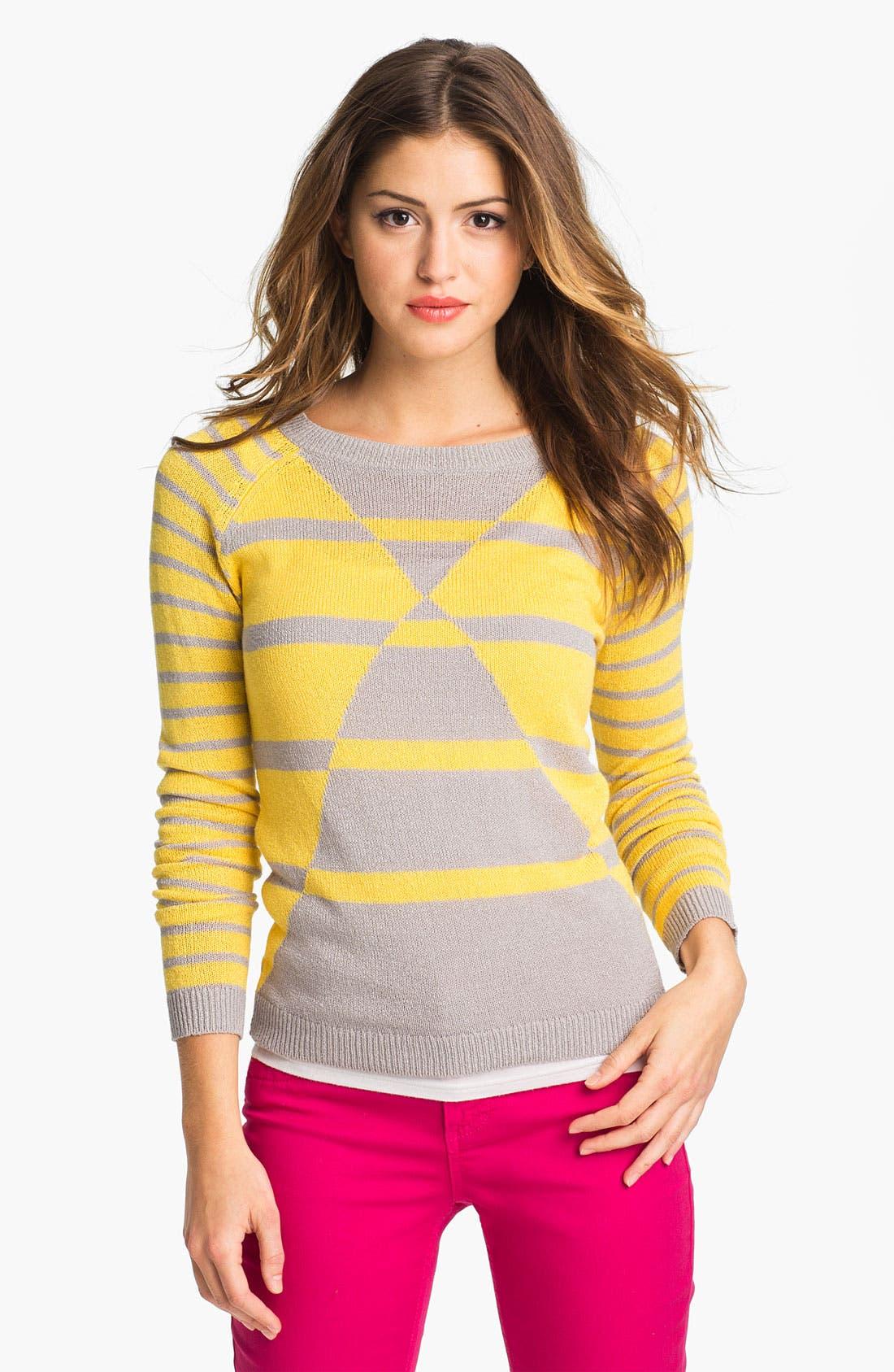 Main Image - Caslon 'Geo Stripe' Crewneck Sweater