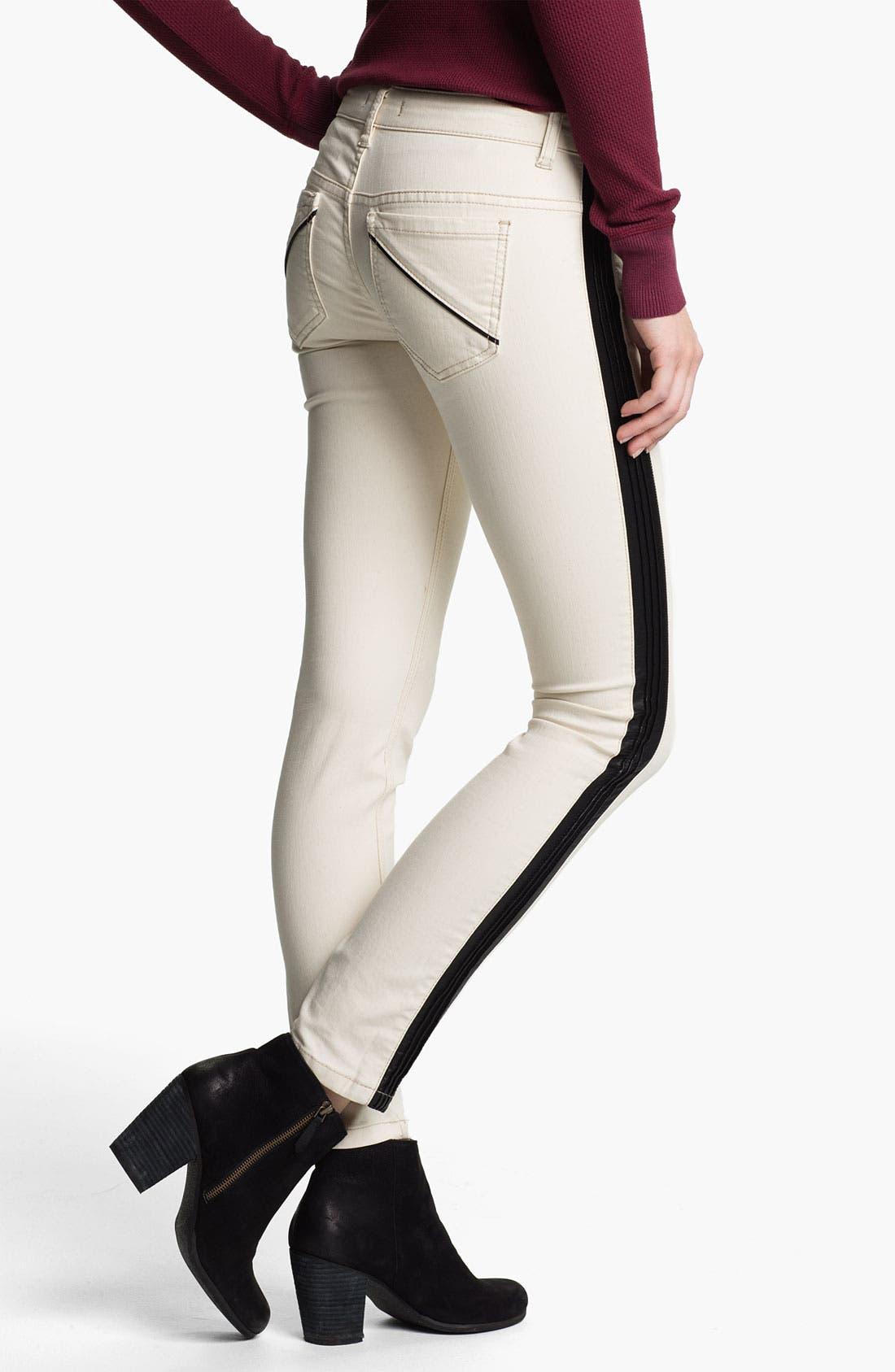 Alternate Image 2  - Free People Faux Leather Stripe Skinny Jeans (Ecru)