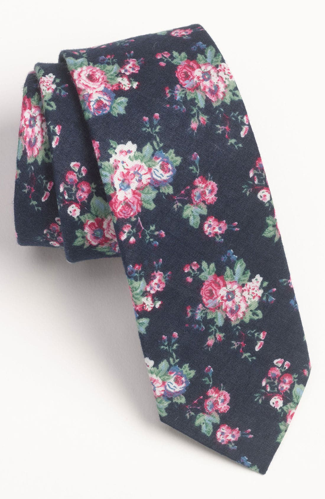 Main Image - Topman Floral Print Chambray Woven Tie