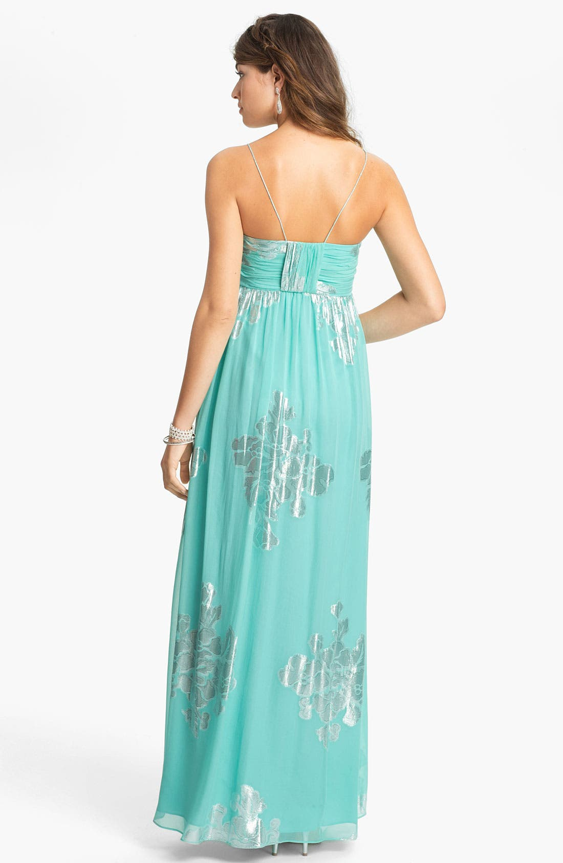 Alternate Image 2  - Eliza J Metallic Print Silk Chiffon Maxi Dress