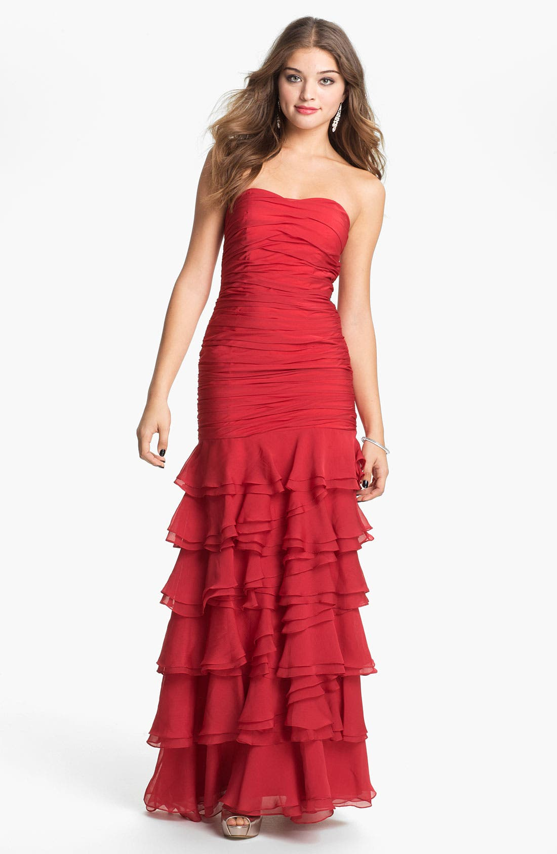 Alternate Image 1 Selected - Dalia MacPhee Ruched & Tiered Strapless Chiffon Gown