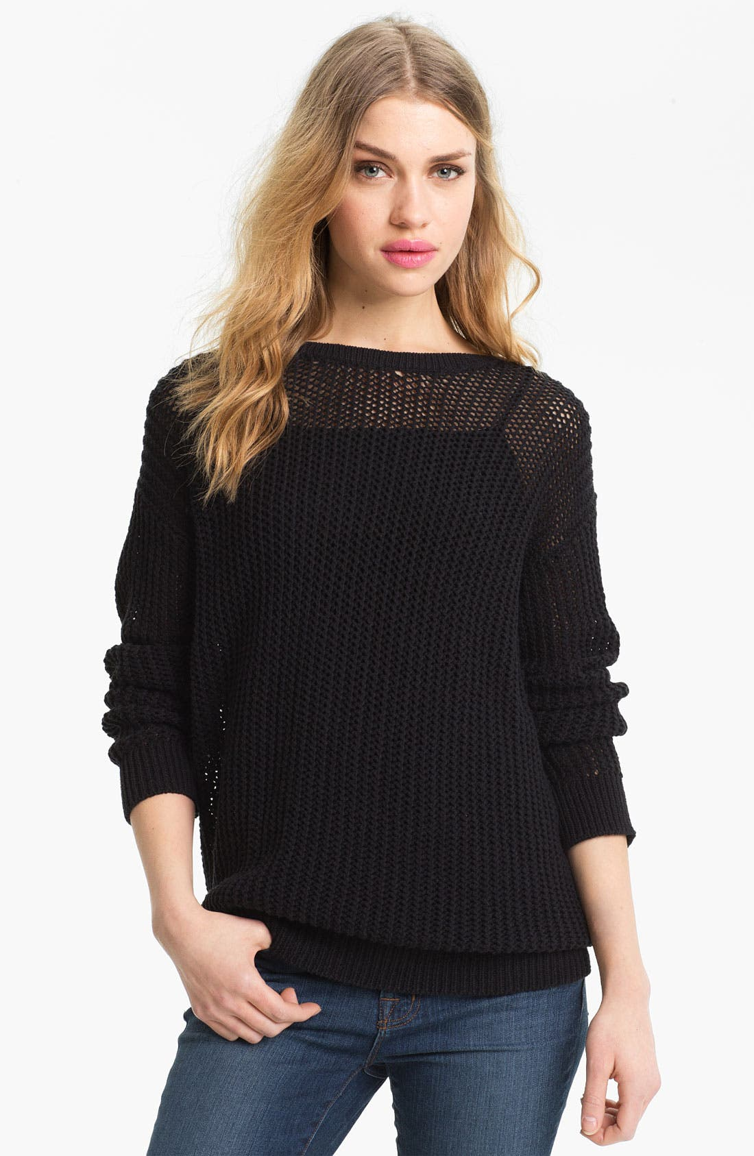 Alternate Image 1 Selected - Trouvé Sheer Lattice Cutout Sweater
