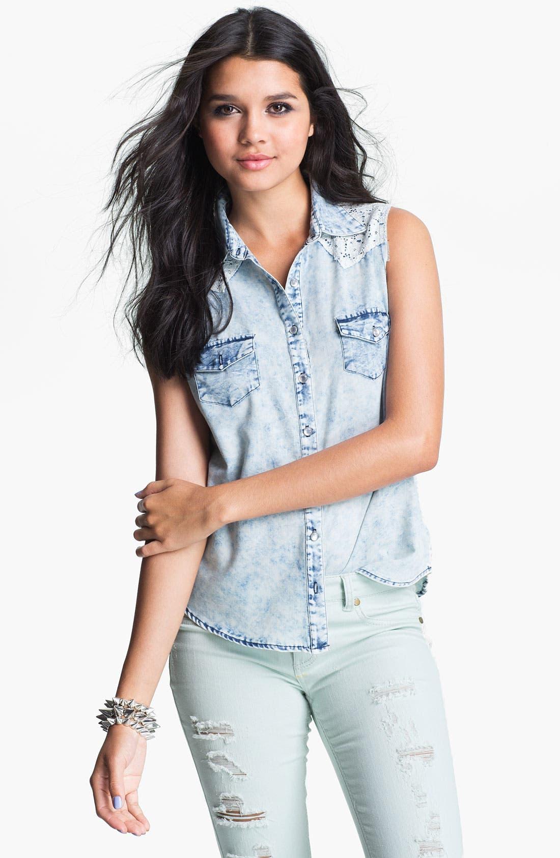 Main Image - Mimi Chica Lace Trim Cutoff Chambray Shirt (Juniors)