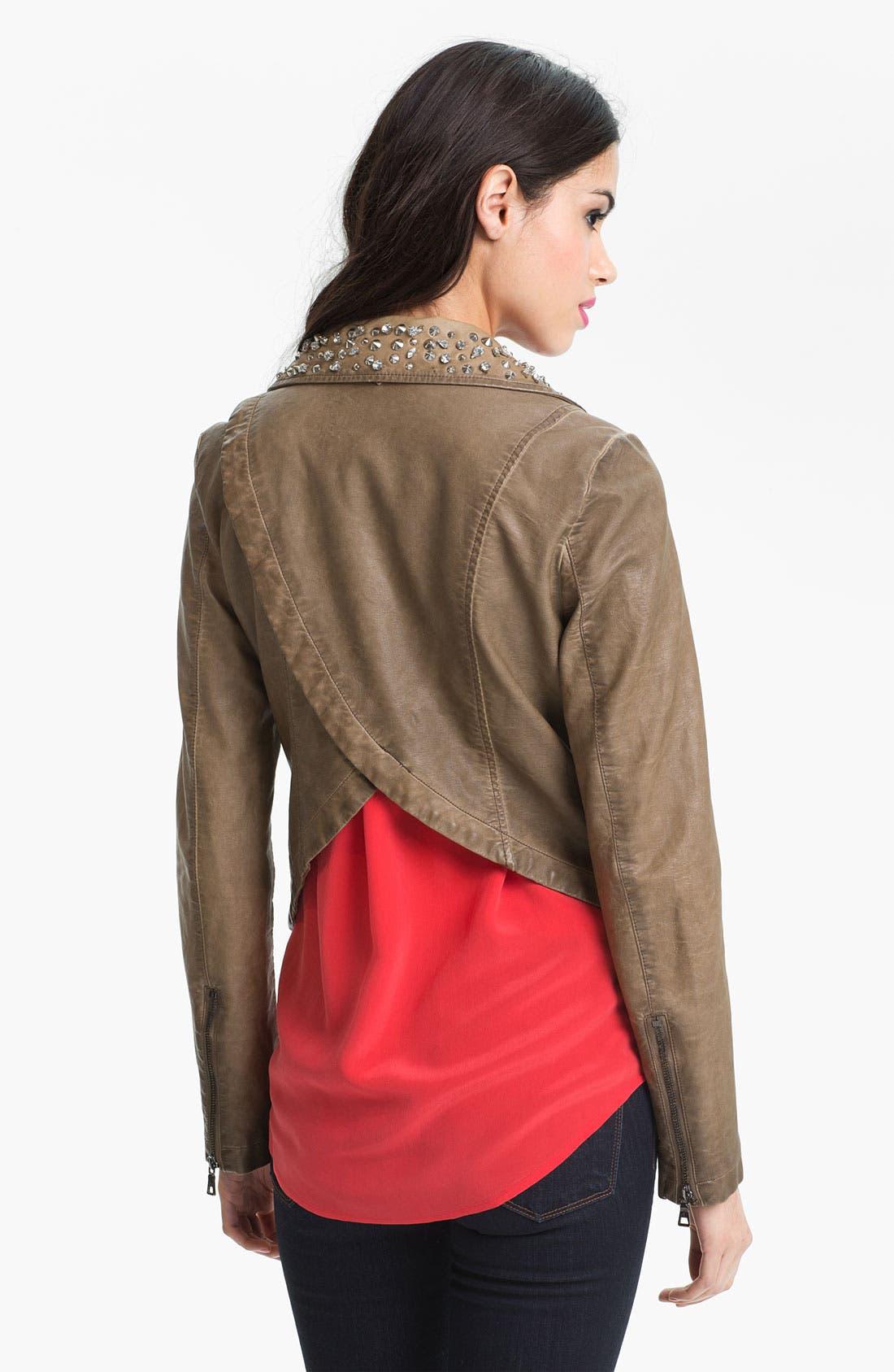 Alternate Image 2  - Sam Edelman Cutaway Back Studded Faux Leather Jacket