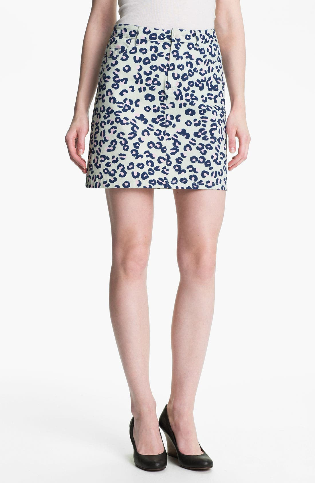 Alternate Image 1 Selected - A.P.C. Leopard Print Denim Miniskirt
