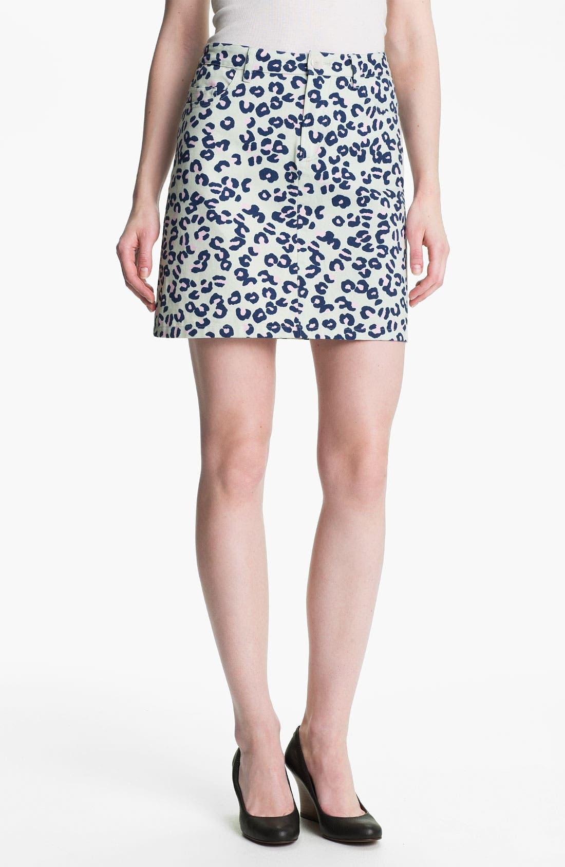 Main Image - A.P.C. Leopard Print Denim Miniskirt