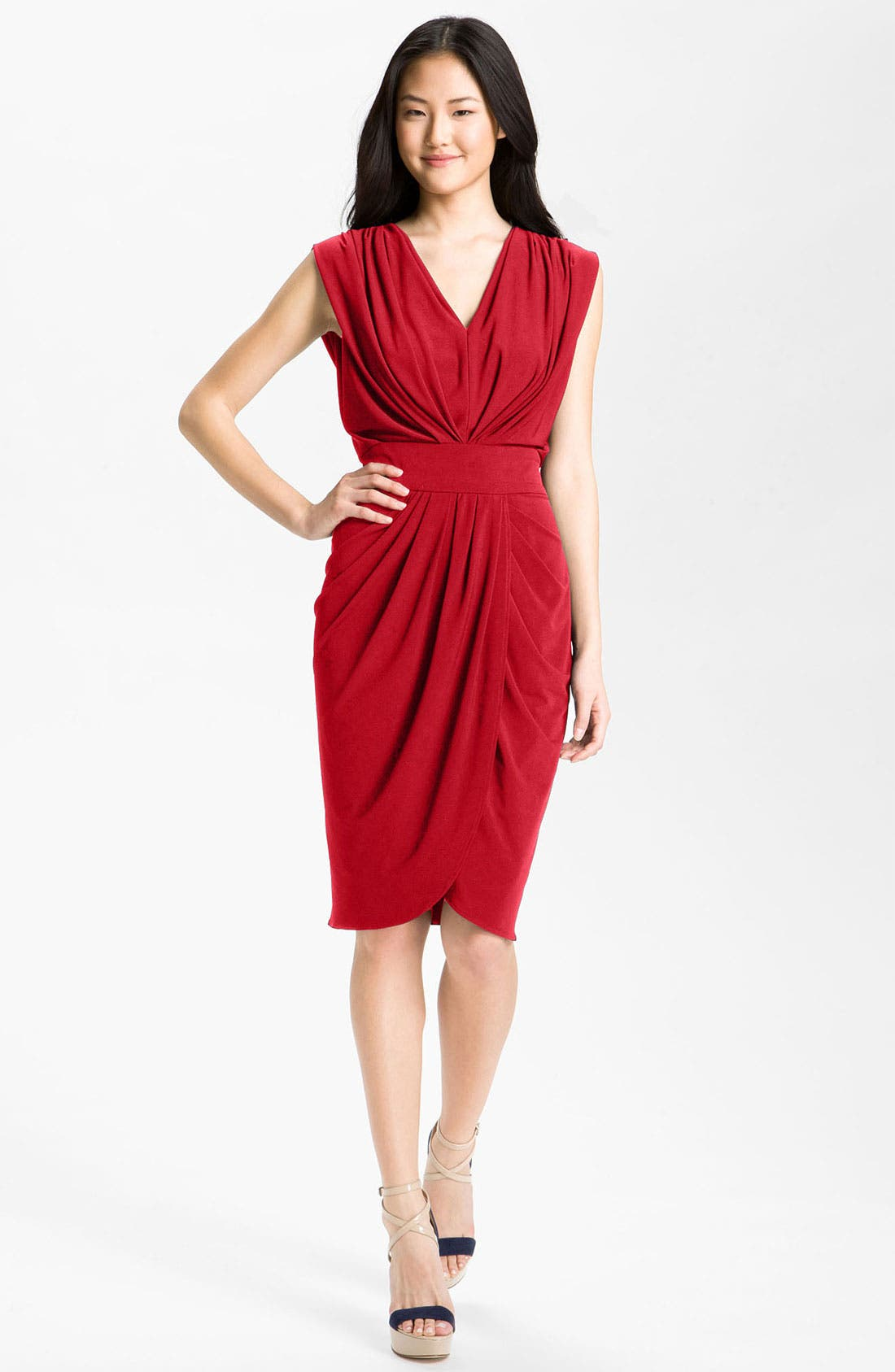 Alternate Image 1 Selected - Suzi Chin for Maggy Boutique Double-V Draped Jersey Dress