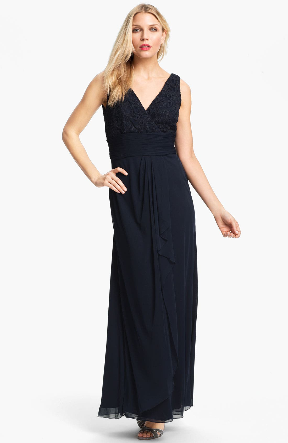 Matte Lace Chiffon Gown & Bolero,                             Alternate thumbnail 2, color,                             Navy