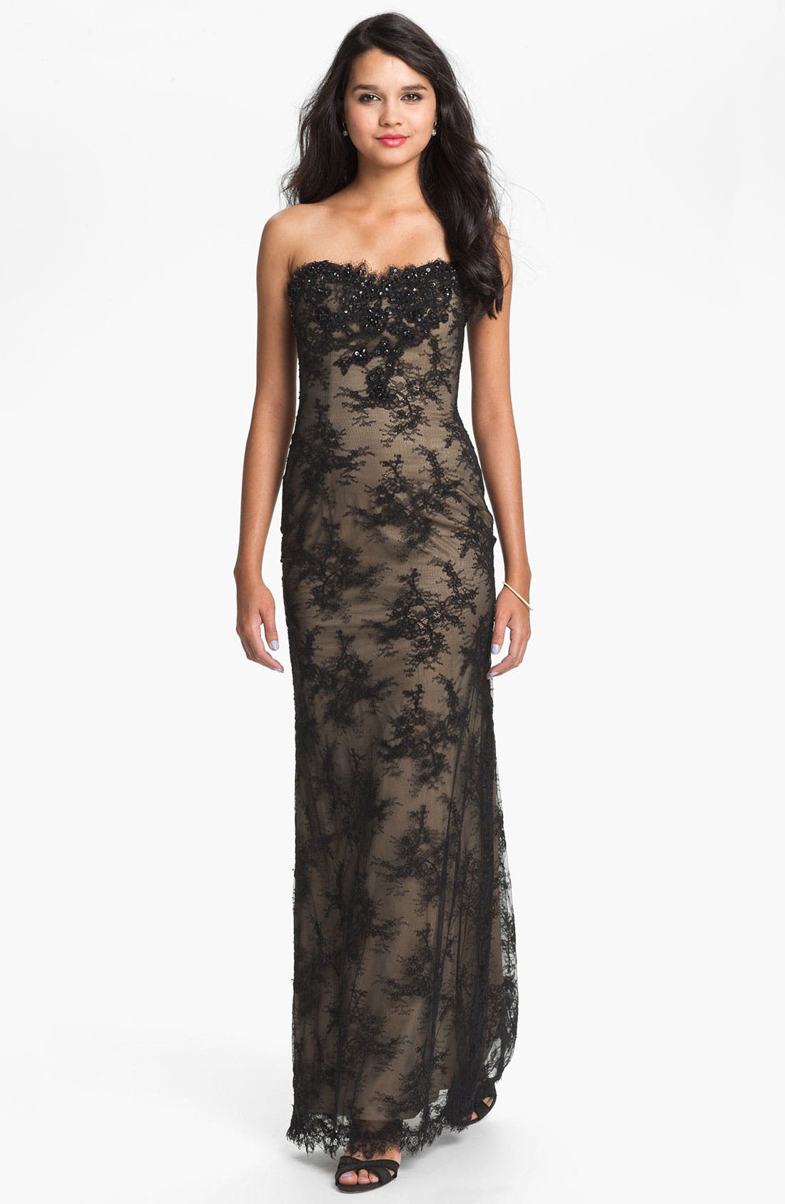 Main Image - La Femme Strapless Lace Overlay Column Gown
