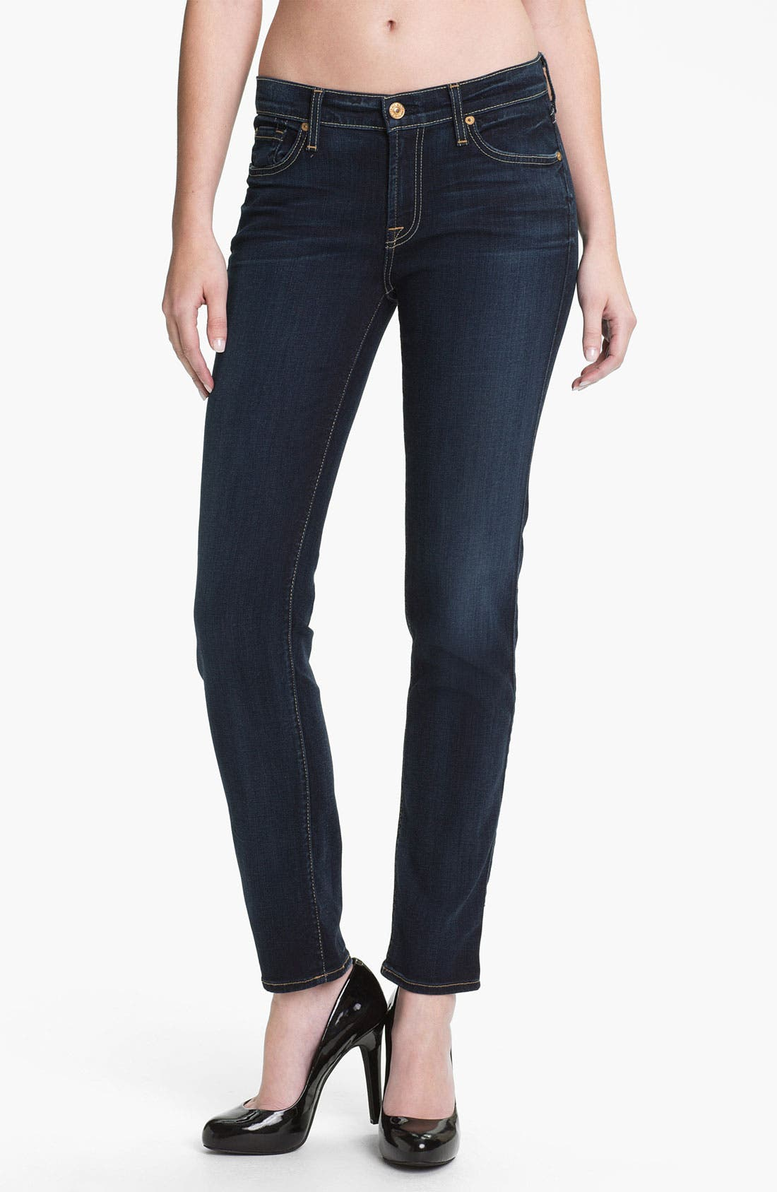 Main Image - 7 For All Mankind® 'The Slim Cigarette' Skinny Leg Jeans (Black Night)