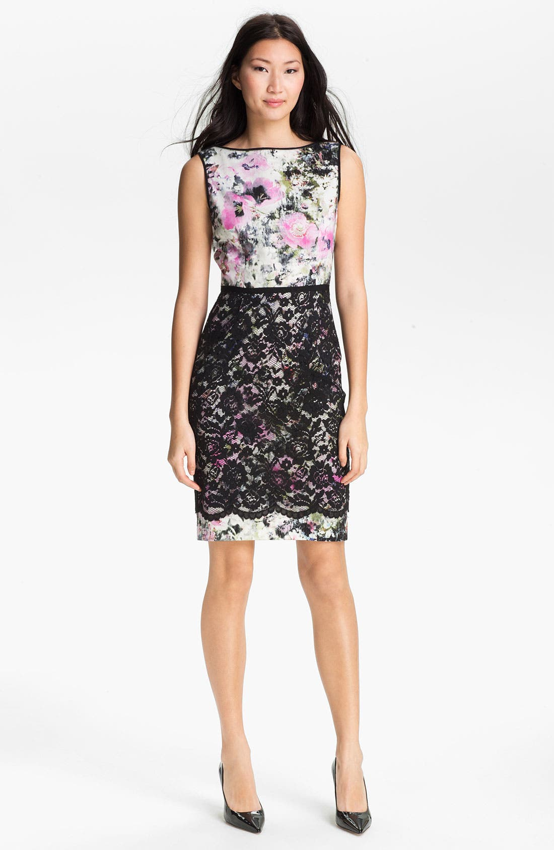 Main Image - Maggy London Print Lace Overlay Sheath Dress