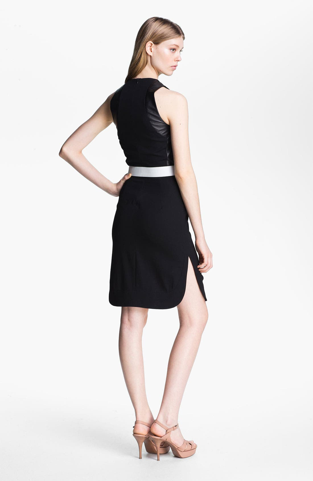 Alternate Image 2  - L'AGENCE Leather Bodice Crepe Dress