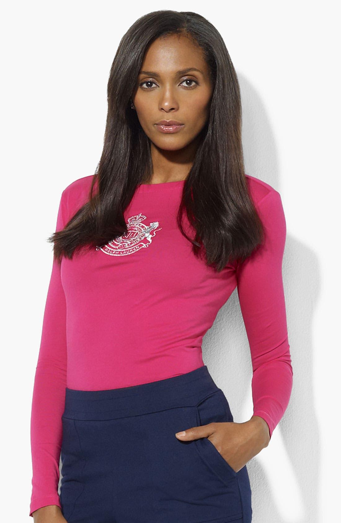 Alternate Image 1 Selected - Lauren Ralph Lauren Logo Tee (Petite) (Online Exclusive)