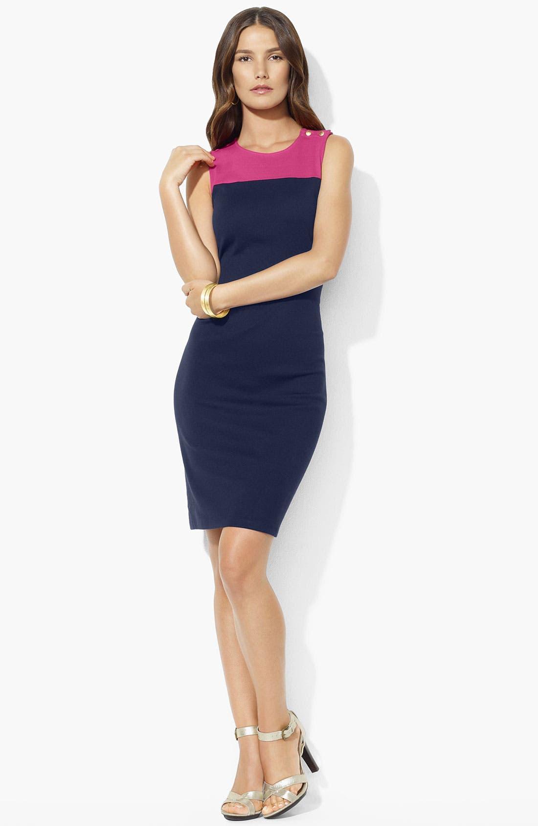 Main Image - Lauren Ralph Lauren Colorblock Sheath Dress (Petite)