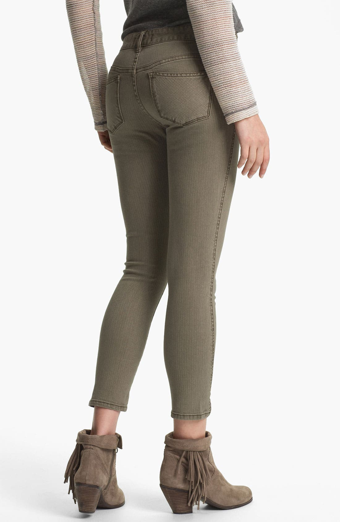 Alternate Image 2  - Free People Crop Stretch Denim Skinny Jeans (Mountain Olive)