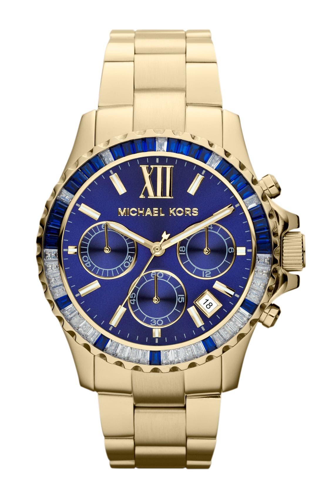 Alternate Image 1 Selected - Michael Kors 'Everest' Baguette Crystal Bezel Bracelet Watch, 41mm