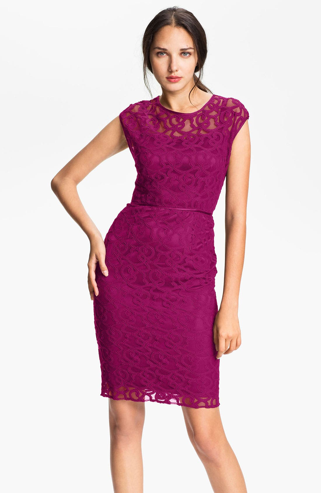 Main Image - Adrianna Papell Lace & Mesh Sheath Dress