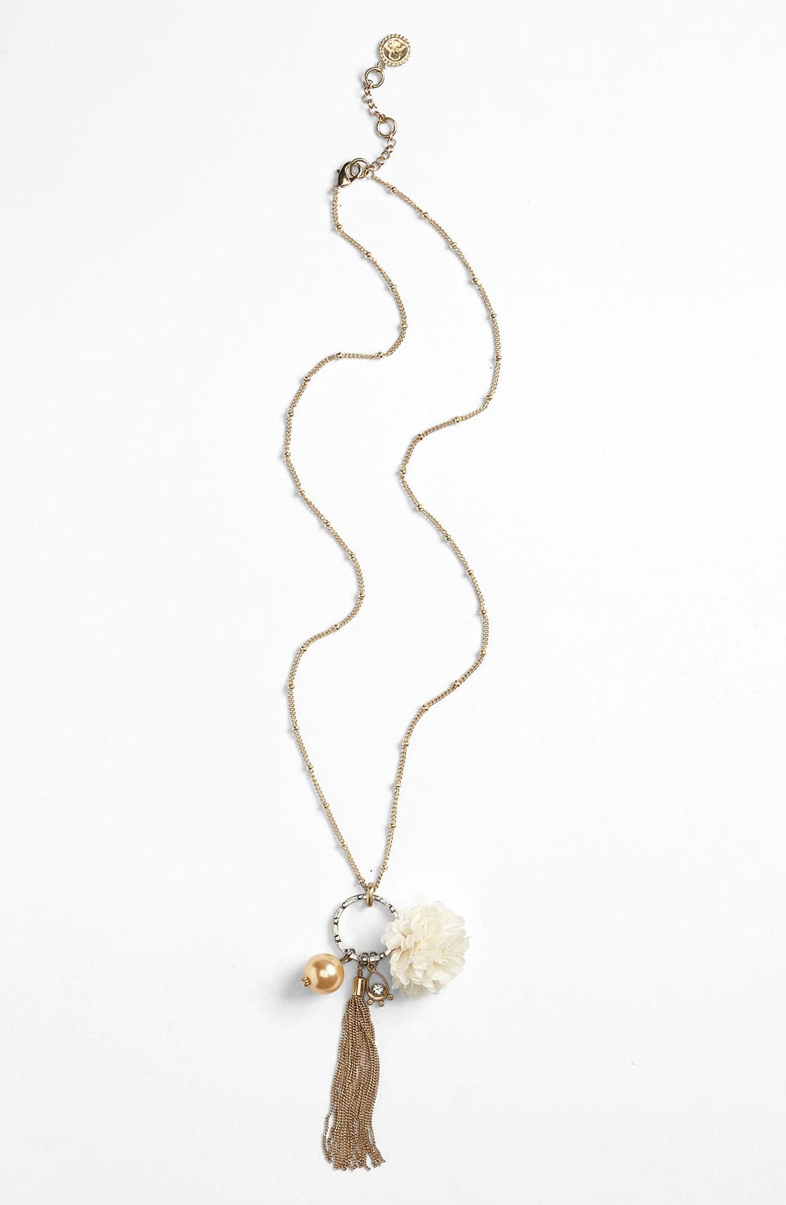 Alternate Image 1 Selected - Jessica Simpson 'Put a Pearl on It'  Flower Pendant Necklace