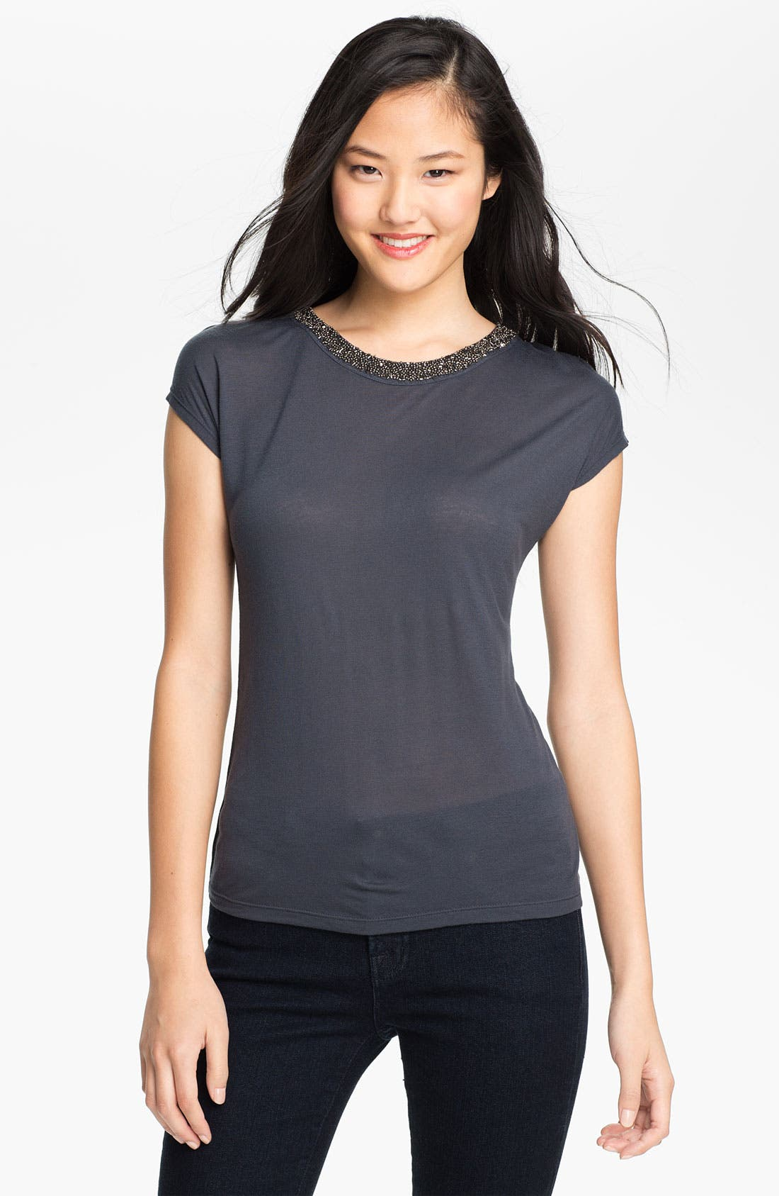 Main Image - Halogen® Beaded Neck Tee (Petite)