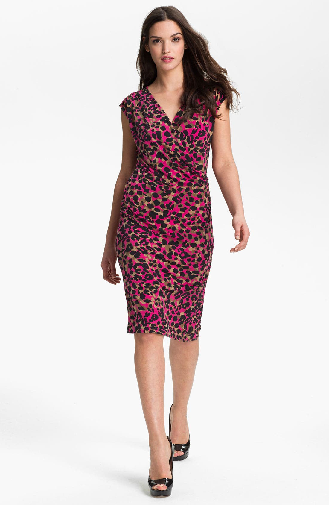 Alternate Image 1 Selected - Anne Klein Drape Front Animal Print Dress