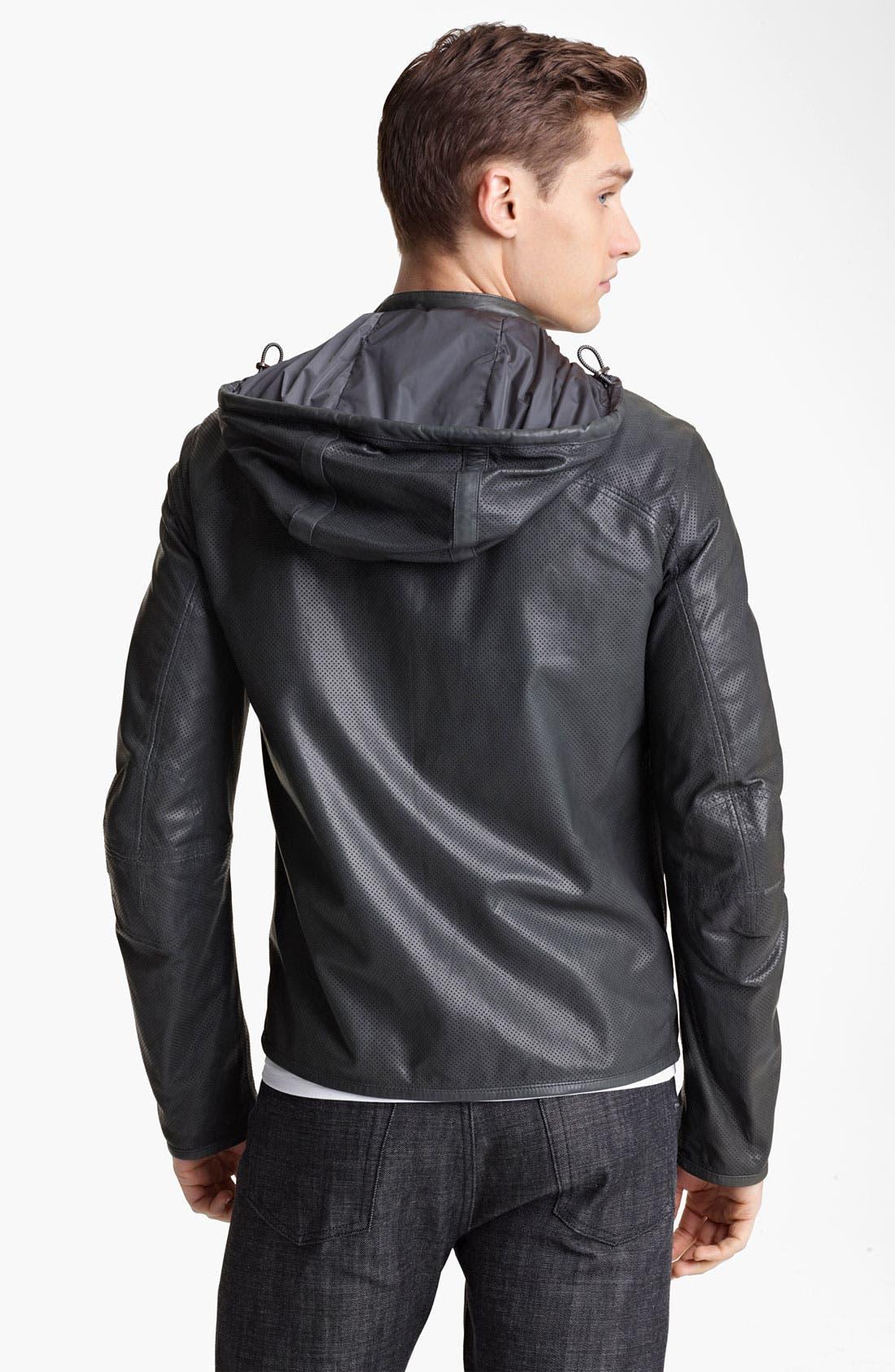 Alternate Image 2  - Z Zegna Hooded Leather Jacket