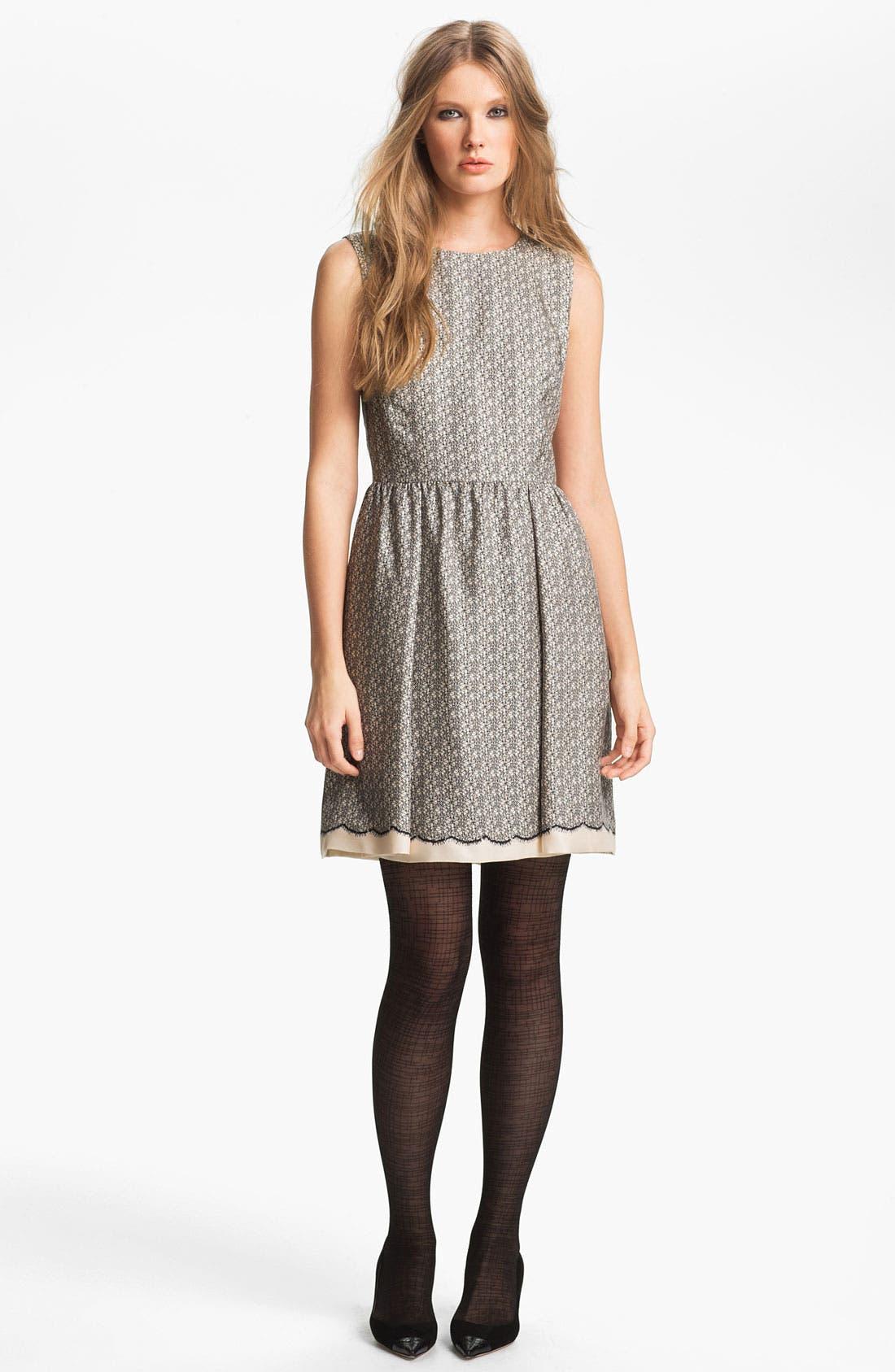 Main Image - Miss Wu Lace Print Silk Twill Dress (Nordstrom Exclusive)