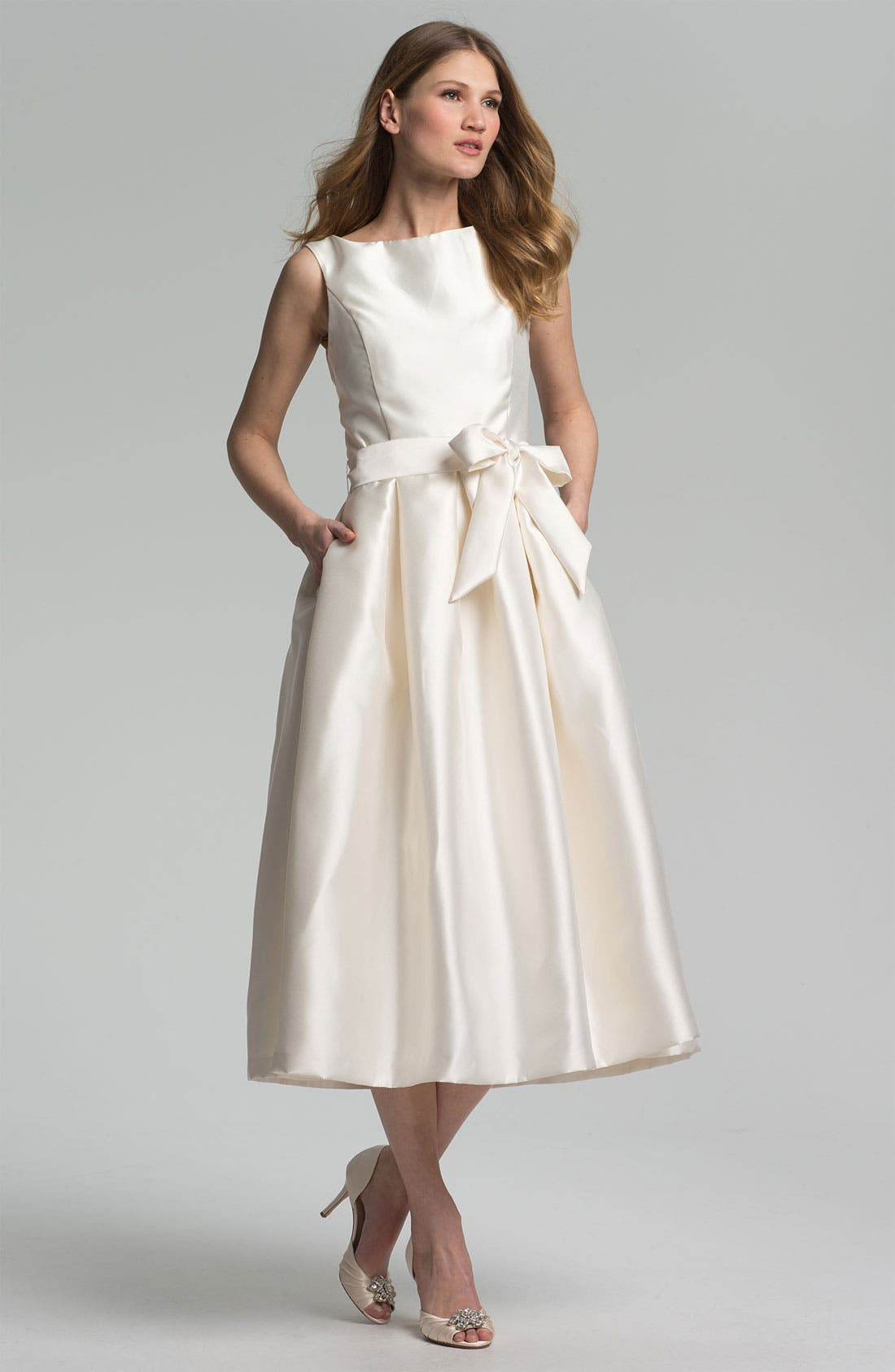 Faille Satin Fit & Flare Dress,                             Main thumbnail 1, color,                             Ivory