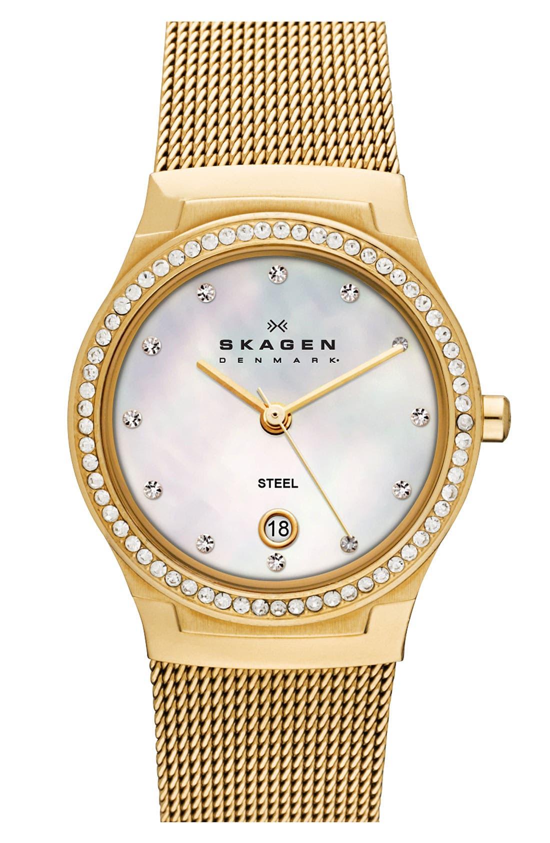 Alternate Image 1 Selected - Skagen 'Mesh' Round Crystal Bezel Watch, 26mm