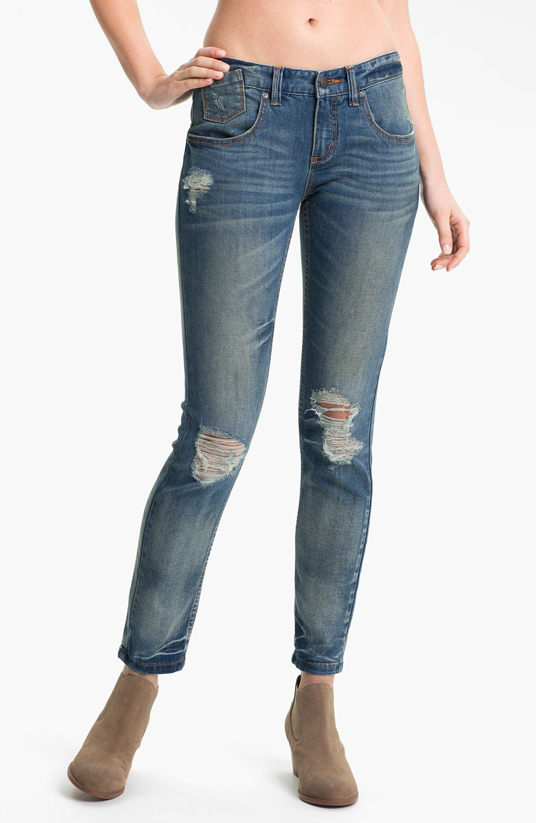 Alternate Image 1 Selected - Free People Destroyed Stretch Skinny Jeans (Engineer)