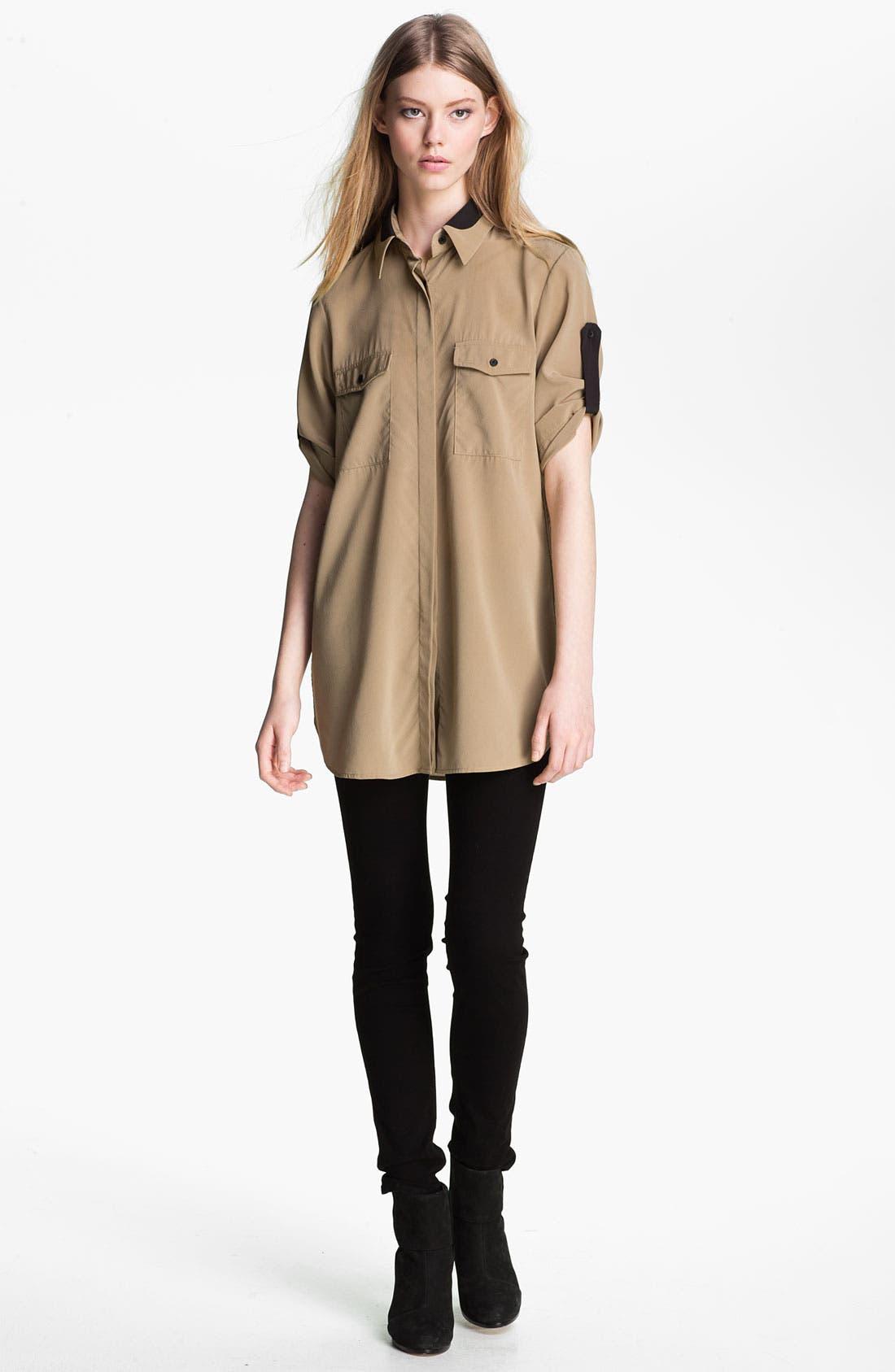 Alternate Image 1 Selected - rag & bone 'Midnight' Tab Sleeve Silk Shirt