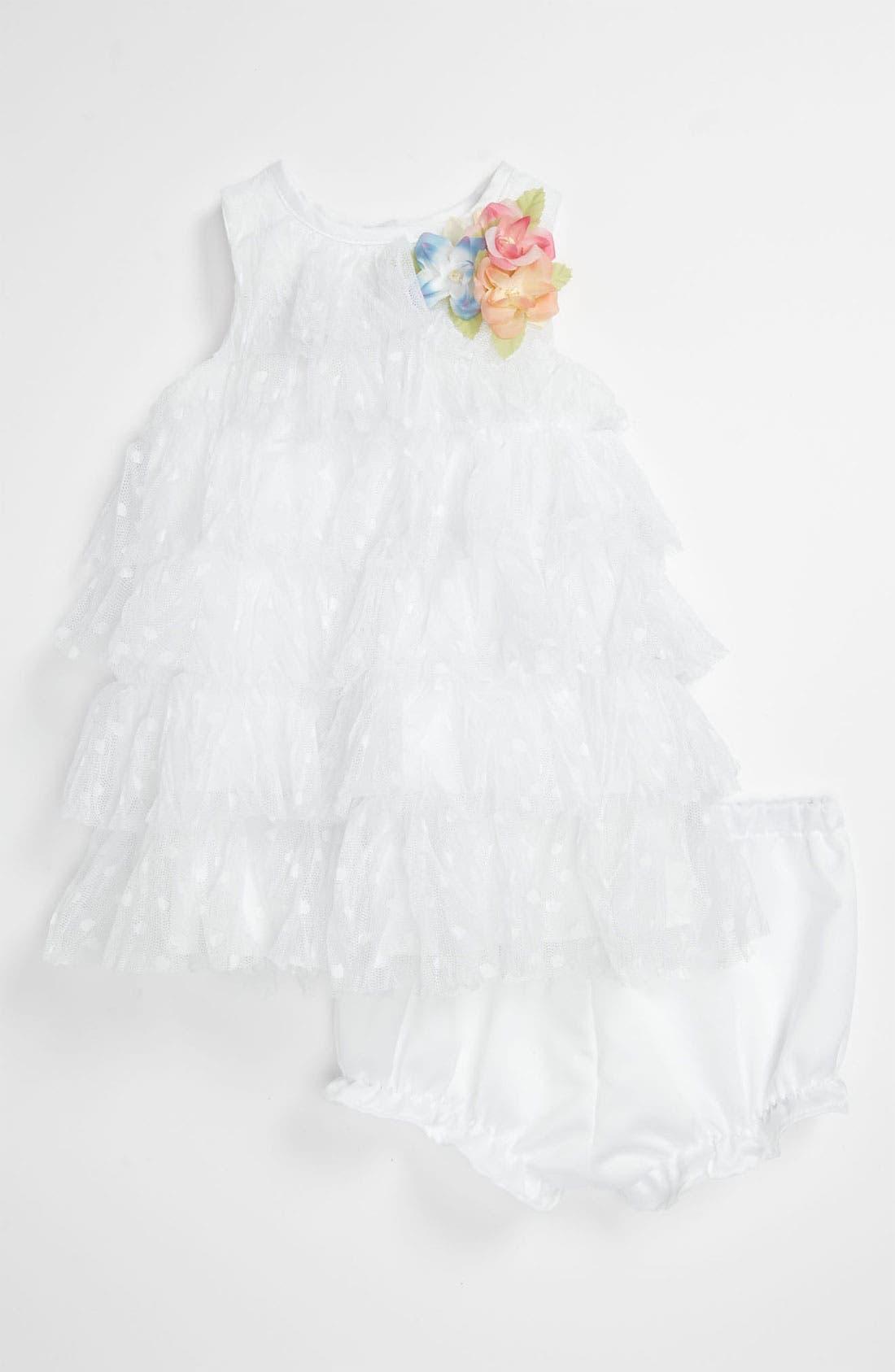 Main Image - Laura Ashley 'Point Esprit' Tier Dress (Baby Girls)