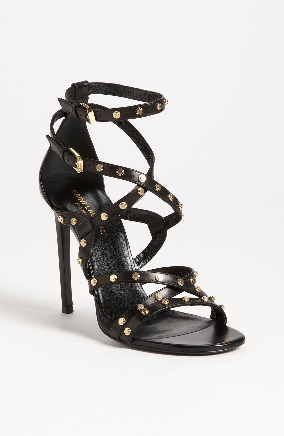 'Jerry' Studded Sandal,                             Main thumbnail 1, color,                             Black