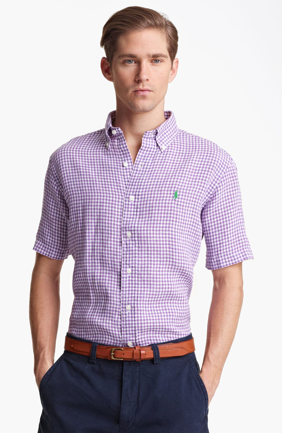 Alternate Image 1 Selected - Polo Ralph Lauren Classic Fit Short Sleeve Linen Sport Shirt