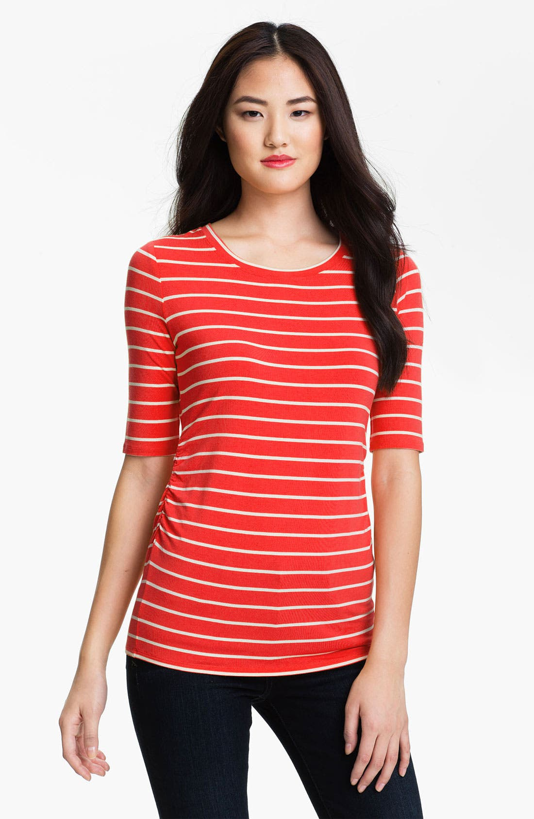Main Image - Vince Camuto Elbow Sleeve Stripe Tee