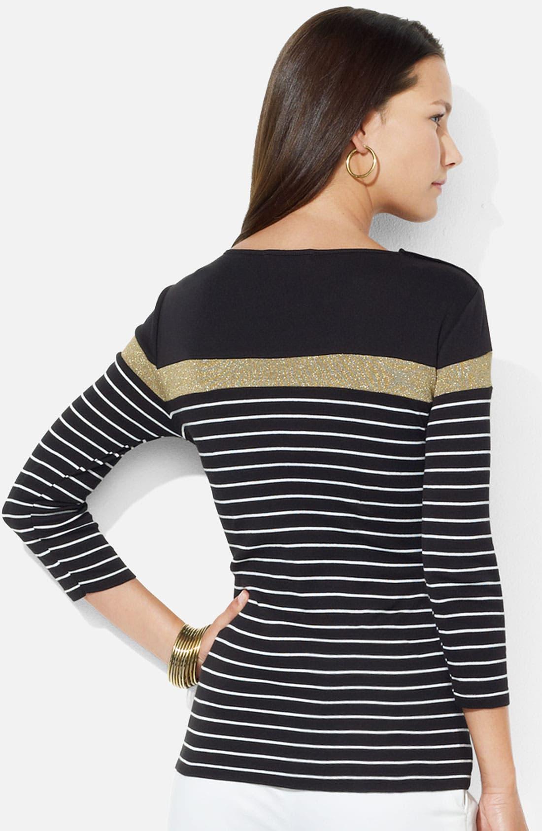Alternate Image 2  - Lauren Ralph Lauren Button Shoulder Stripe Tee (Petite)