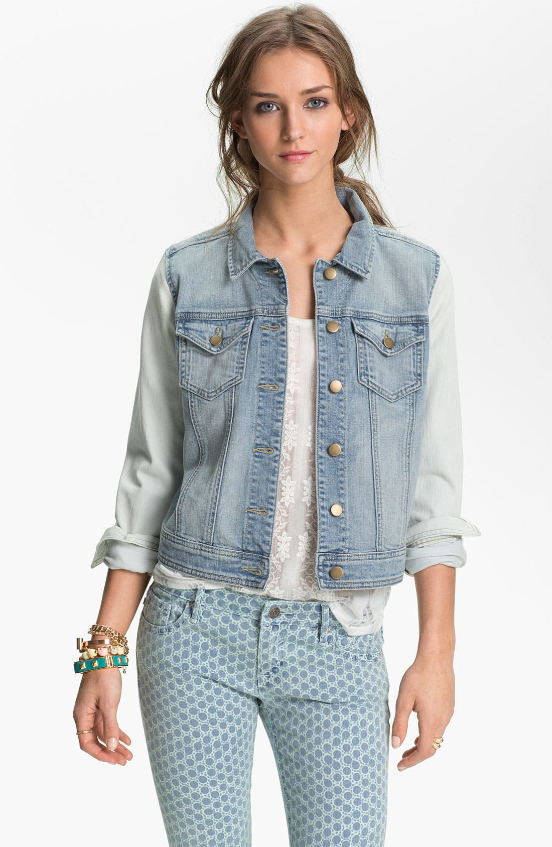 Alternate Image 1 Selected - Rubbish® Two Tone Denim Jacket (Juniors)