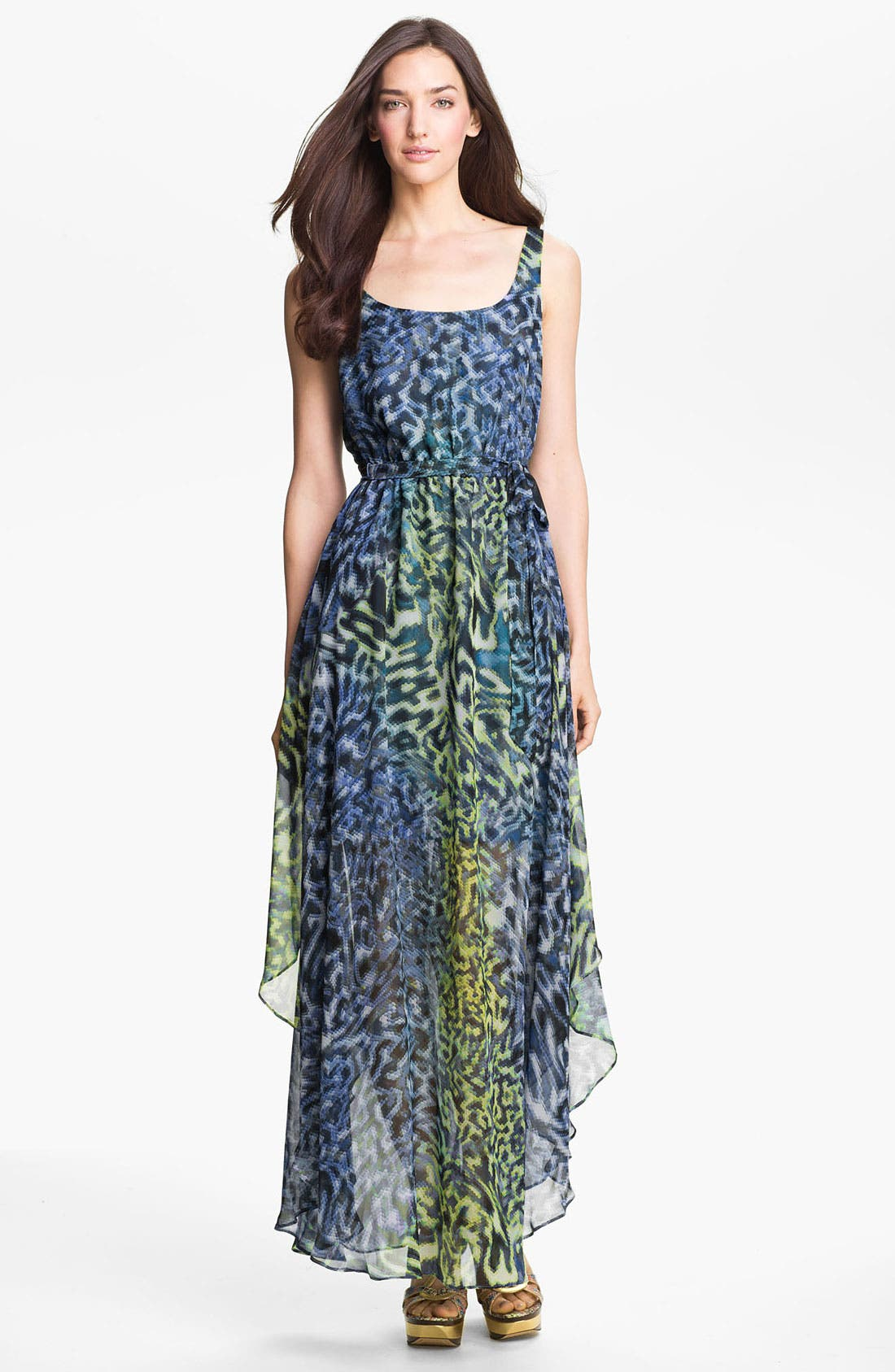 Alternate Image 1 Selected - Suzi Chin for Maggy Boutique Print Chiffon Maxi Dress