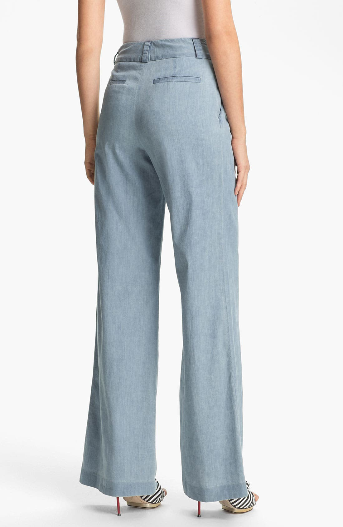 Alternate Image 2  - Alice + Olivia 'Eric' Wide Leg Chambray Denim Pants