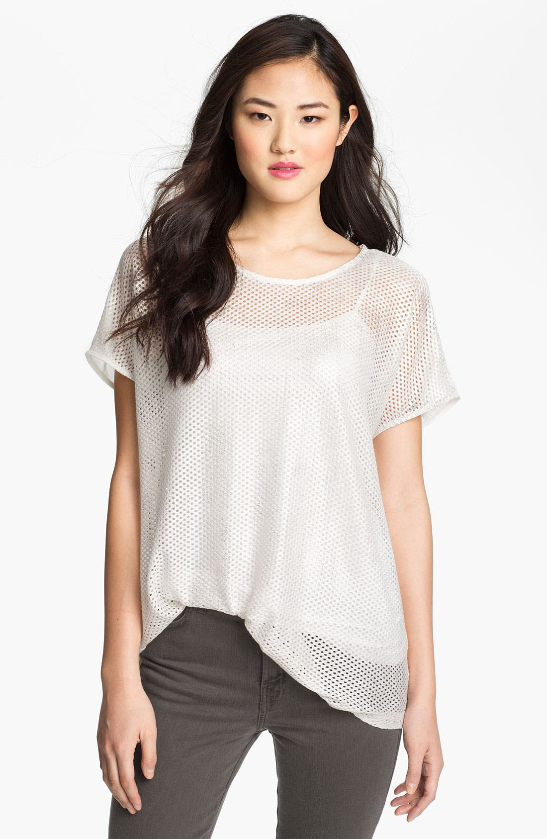 Main Image - Pleione Perforated Shirttail Hem Top