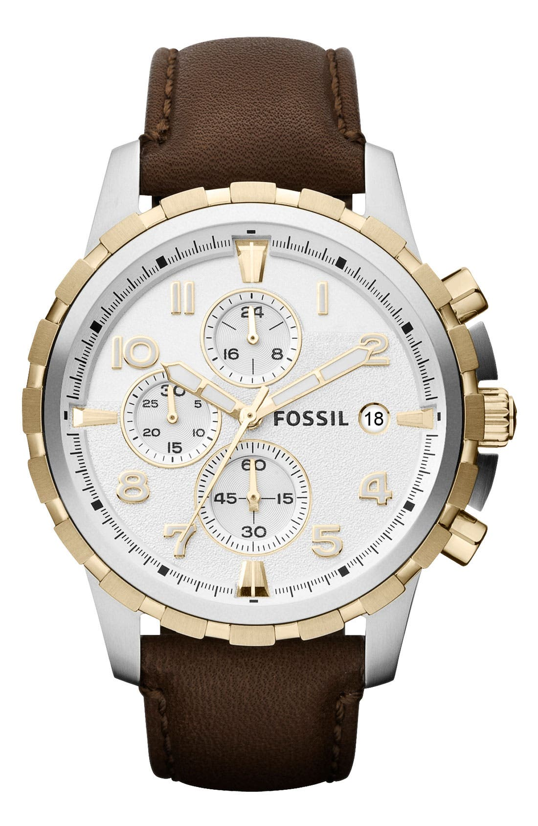 Alternate Image 1 Selected - Fossil 'Dean' Chronograph Leather Strap Watch, 45mm