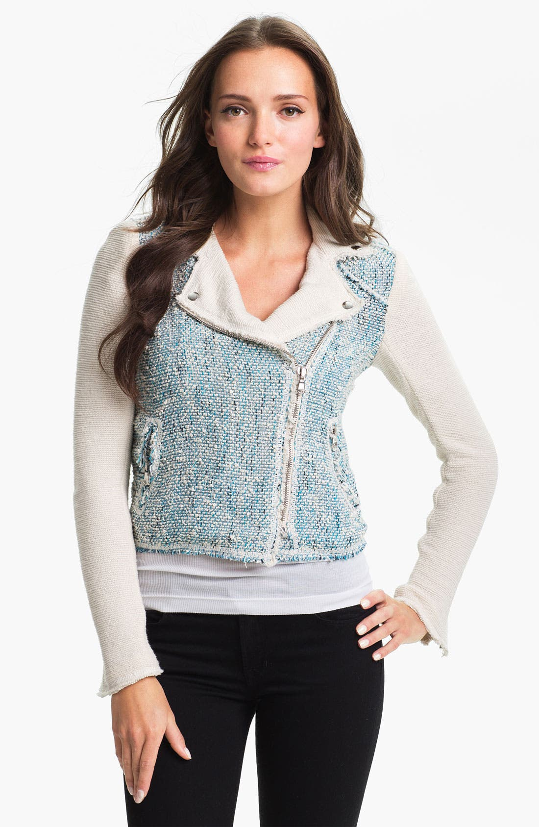 Alternate Image 1 Selected - Rebecca Taylor Tweed Moto Jacket