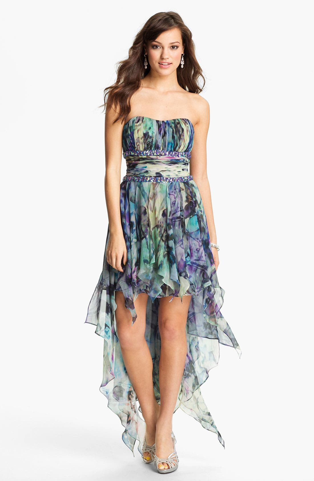 Main Image - La Femme Embellished Print High/Low Chiffon Dress
