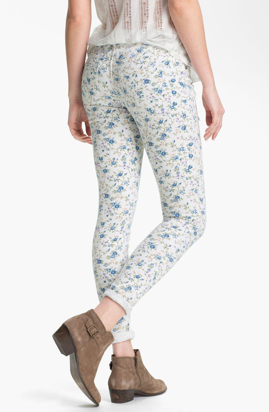 Alternate Image 2  - Fire Floral Print Destroyed Skinny Jeans (Juniors)