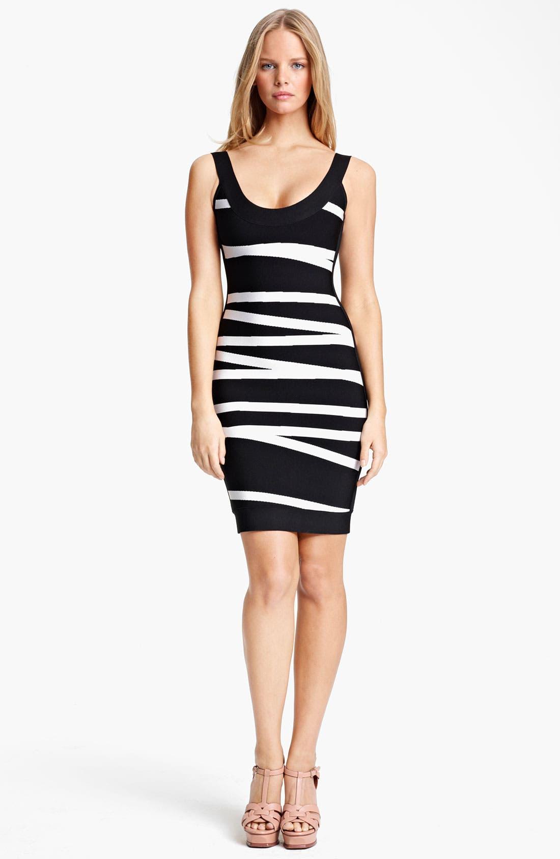 Main Image - Herve Leger Contrast Stripe Dress