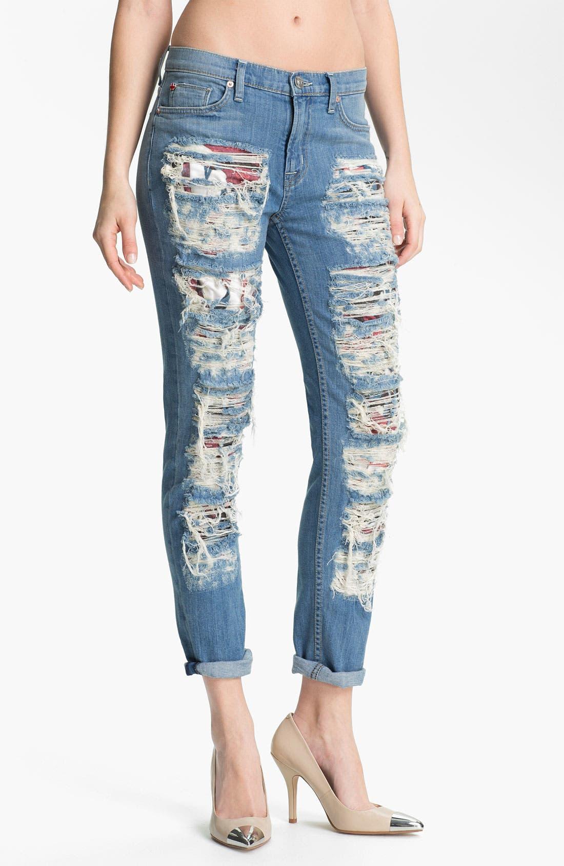 Main Image - Hudson Jeans 'Courtney' Slashed Straight Leg Jeans (Anti-Establishment)