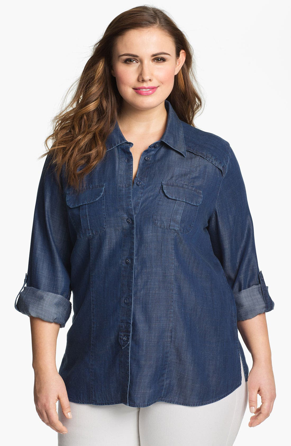 Alternate Image 1 Selected - Foxcroft Long Sleeve Denim Shirt (Plus)