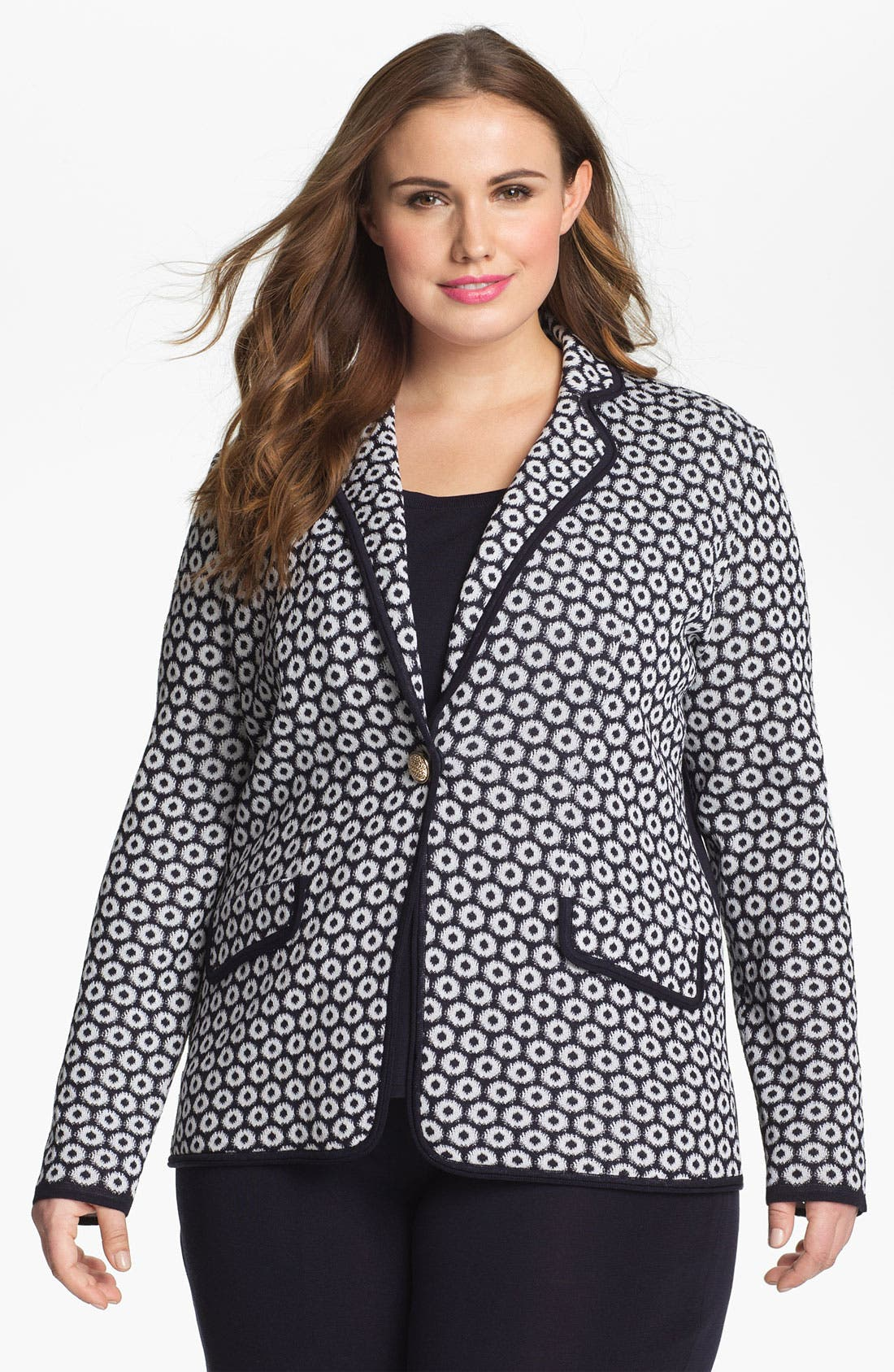 Main Image - Exclusively Misook 'Camille' Knit Jacquard Jacket (Plus Size)