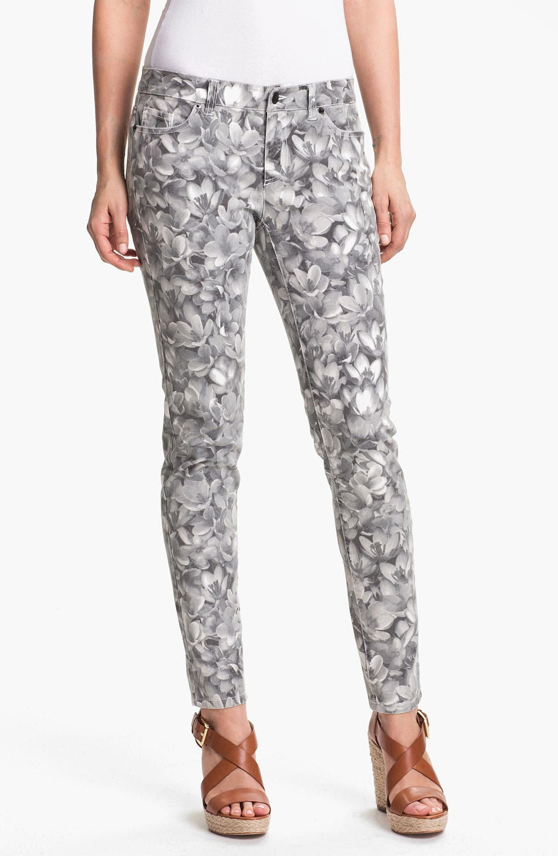 Main Image - MICHAEL Michael Kors Wildflower Print Skinny Ankle Jeans