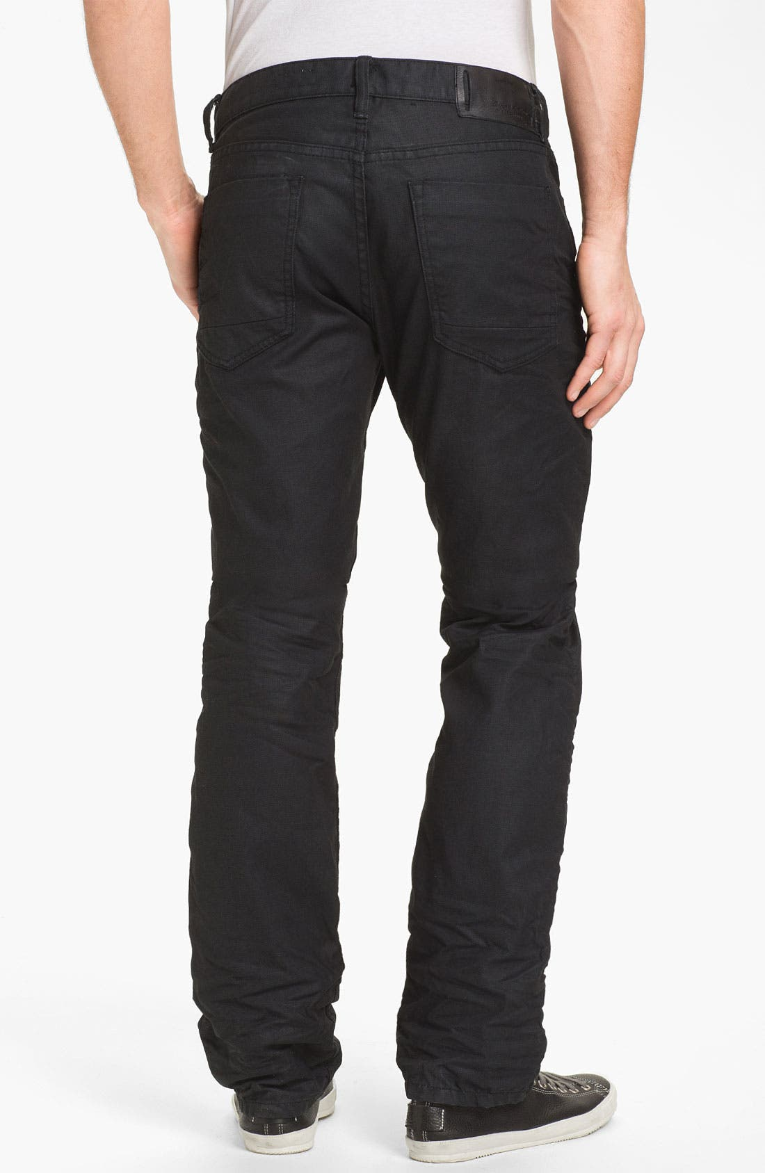 Alternate Image 1 Selected - Denim & Leathers by Andrew Marc Straight Leg Jeans (Black)